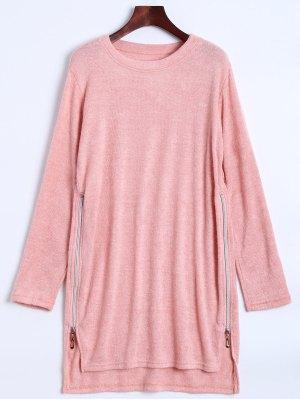 Side Zipper Sweater Dress - Pink