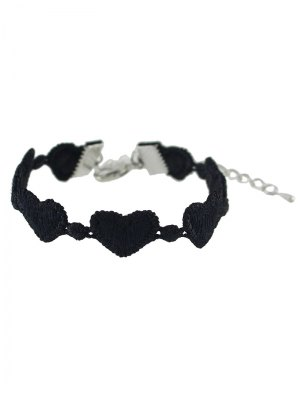 Heart Lace Chain Bracelet - Black