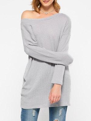 Skew Neck Long Sleeve Jumper - Gray