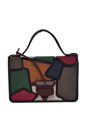 Colour Splicing Patchwork Square Shape Crossbody Bag - Black