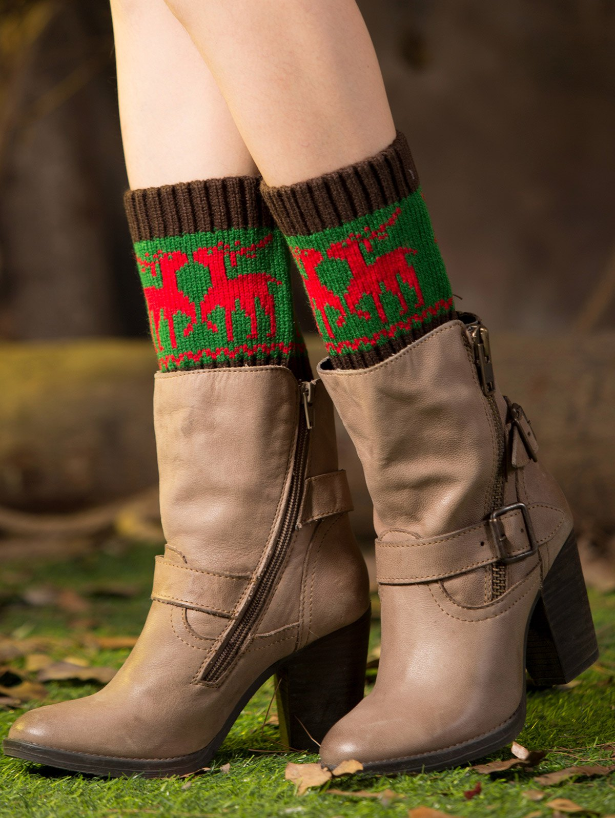 Deer Jacquard Christmas Boot Cuffs
