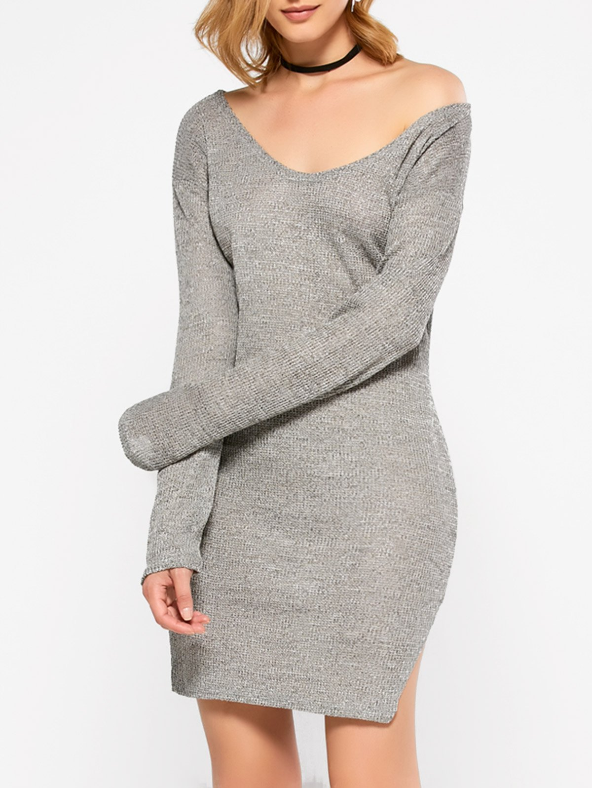 V Neck Long Sleeve Side Slit Sweater Dress