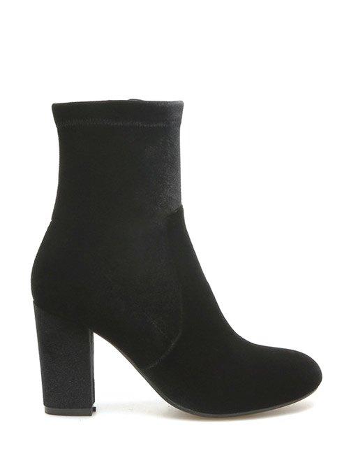 Chunky Heel Sock Boots