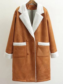 Lapel Faux Shearling Pea Coat