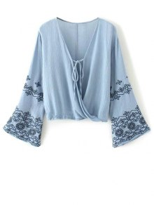 String Flare Sleeve Embroidered Blouse - Blue M
