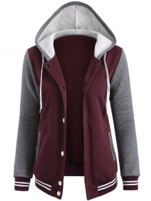 Varsity Baseball Fleece Hoodie Jacket - Wine Red Xs