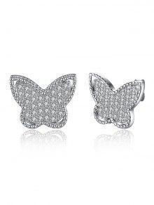 Pendientes de diamante de la mariposa S925