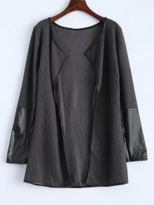 PU Leather Insert Long Sleeve Cardigan - Deep Gray M