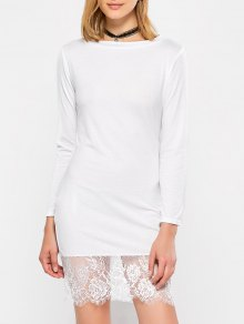 Lace Spliced Slash Neck Dress - White Xl