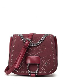 Chain Metal Covered Closure Crossbody Bag - Wine Red