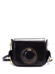 Metal Ring Camera Shape Chain Crossbody Bag - Black