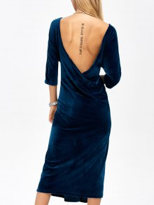 Open Back Velvet Tea Length Dress