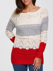 Pullover Hollow Out Color Block Sweater