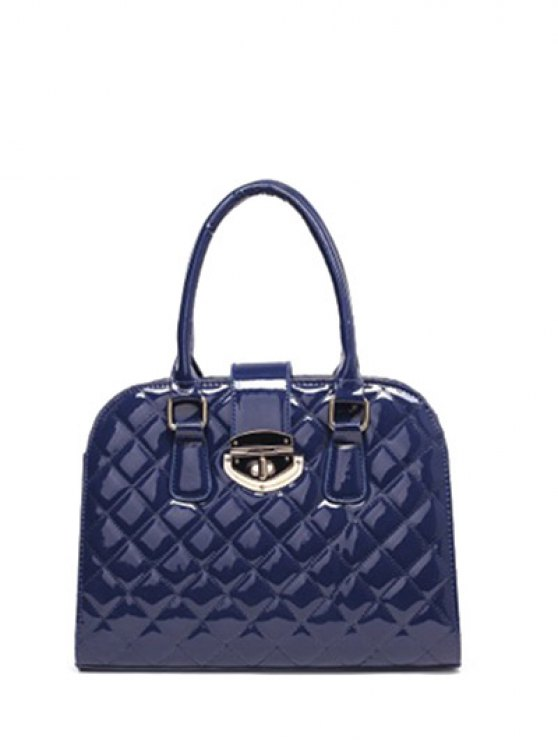 Rhombic Patent Leather Handbag - DEEP BLUE  Mobile