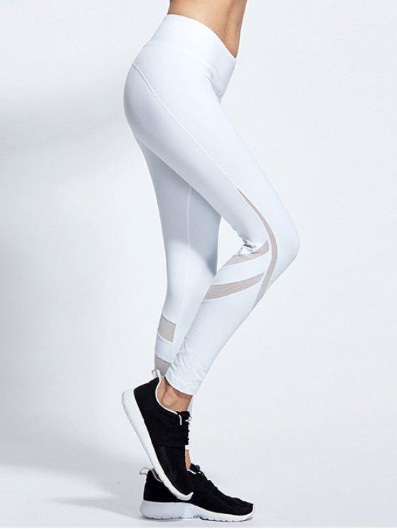 High Waist Mesh Panel Tight Yoga Leggings - WHITE M Mobile