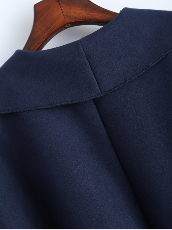 Wrap Woolen Coat With Pockets - DEEP BLUE L Mobile