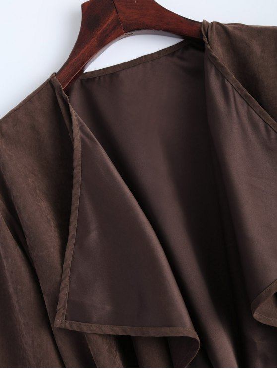 Faux Suede Duster Coat - BROWN XL Mobile