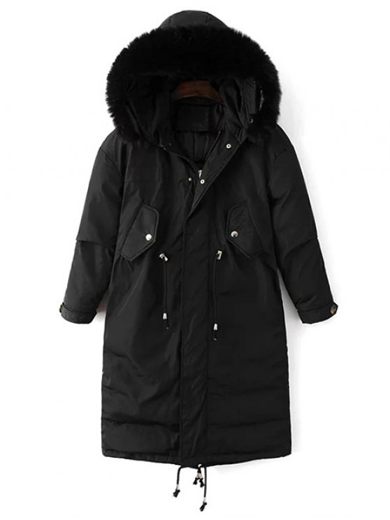 Drawstring Zip-Up Puffer Coat - BLACK XL Mobile