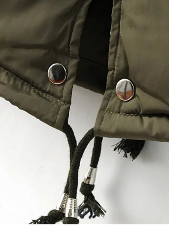 Drawstring Zip-Up Puffer Coat - GREEN XL Mobile