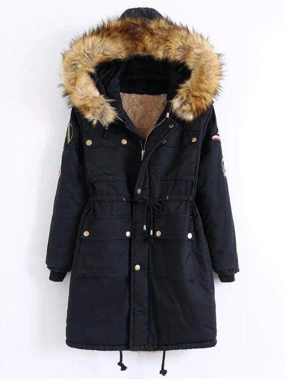 Patch Hooded Parka Coat - BLACK L Mobile
