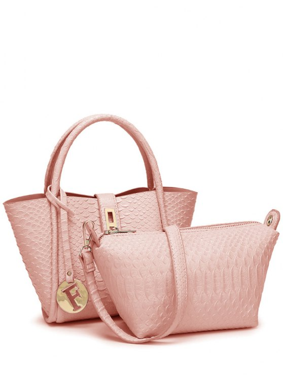 Metal Pendant Crocodile Embossed Handbag - PINK  Mobile