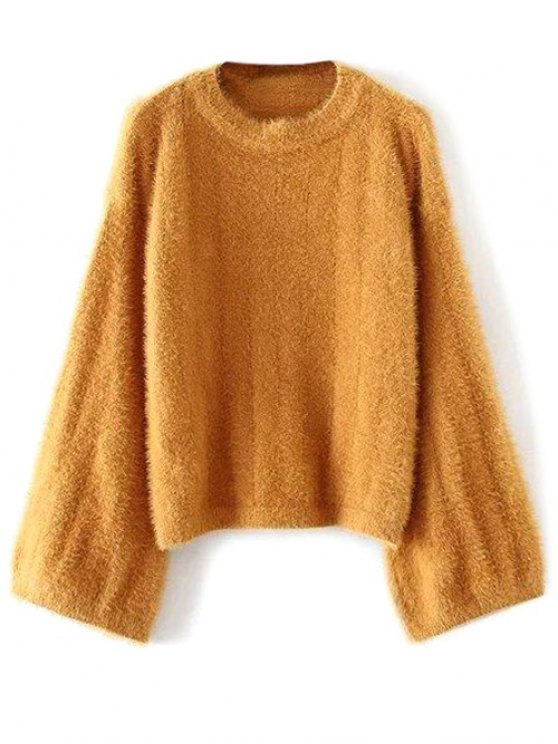 Oversized Fuzzy Sweater - YELLOW ONE SIZE Mobile