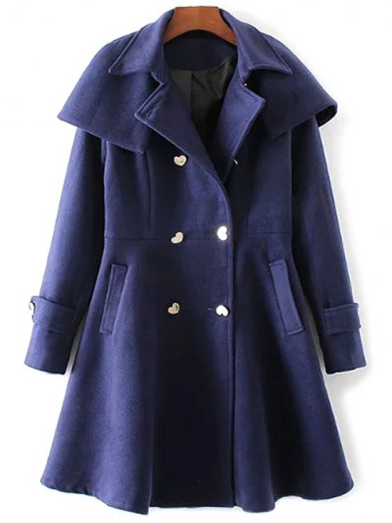 Double Breasted Skirted Cape Coat - DEEP BLUE M Mobile