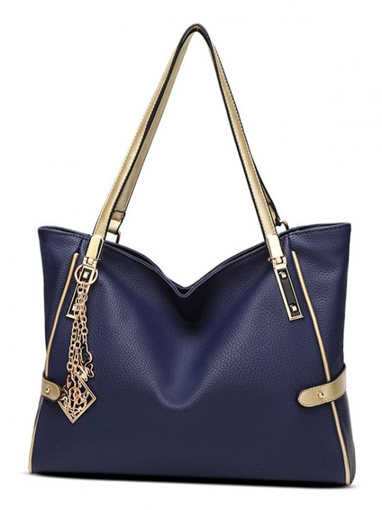 Chains Pendant PU Leather Shoulder Bag -   Mobile