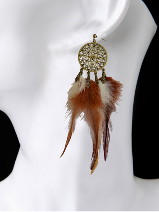 Hollow Out Feather Tassel Earrings -   Mobile