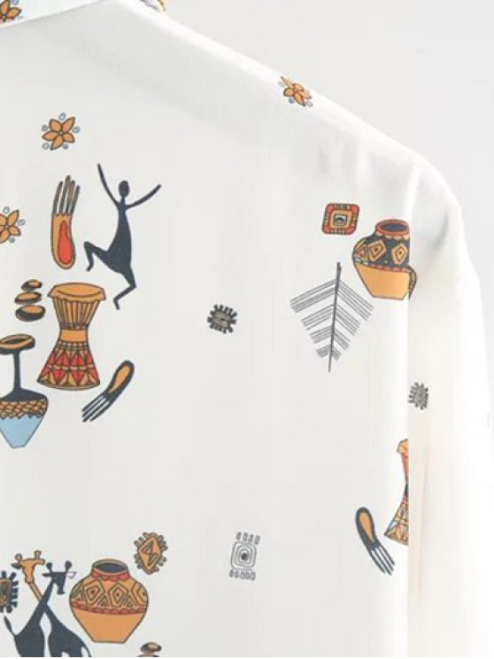Cartoon Print Shirt - WHITE L Mobile