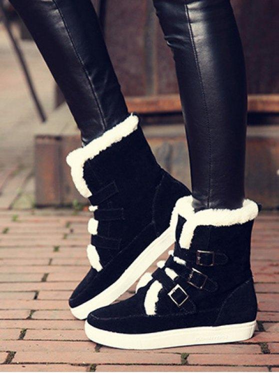 Buckles Faux Fur Flat Heel Short Boots - BLACK 38 Mobile