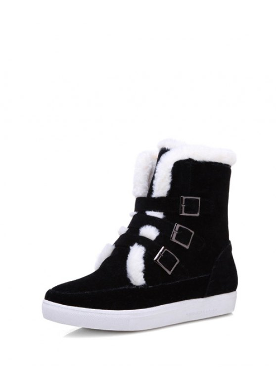 Buckles Faux Fur Flat Heel Short Boots - BLACK 39 Mobile