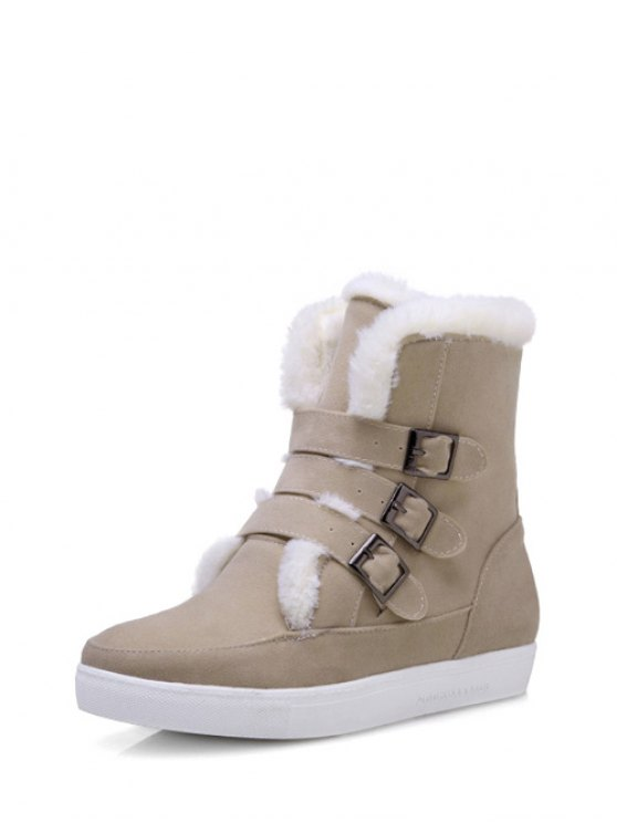 Buckles Faux Fur Flat Heel Short Boots - OFF-WHITE 37 Mobile