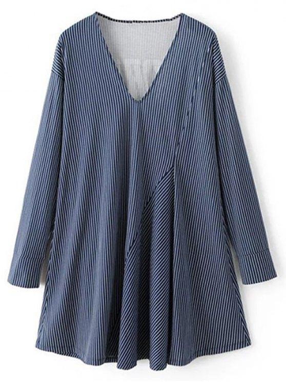 Letter Striped Long Sleeve Dress - BLUE S Mobile
