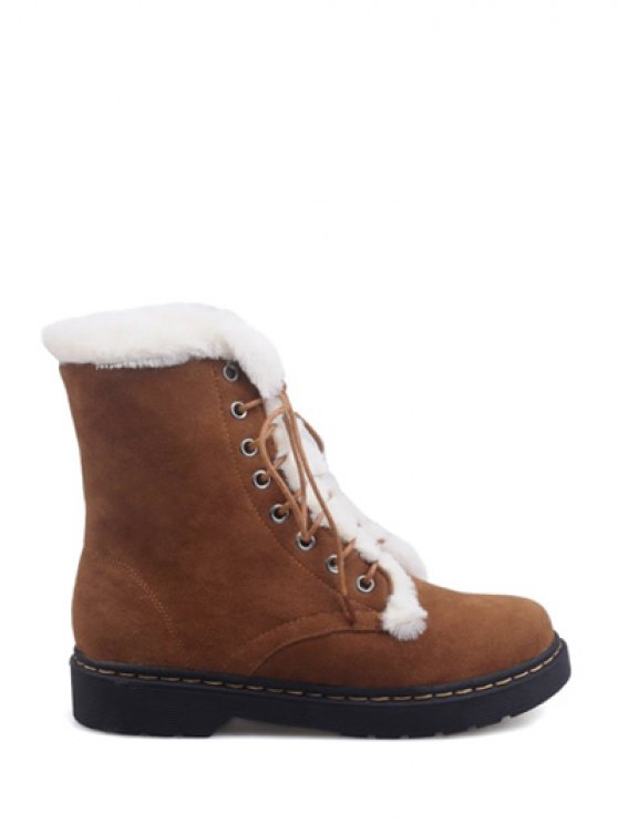 Faux Fur Stitching Tie Up Short Boots - BROWN 39 Mobile