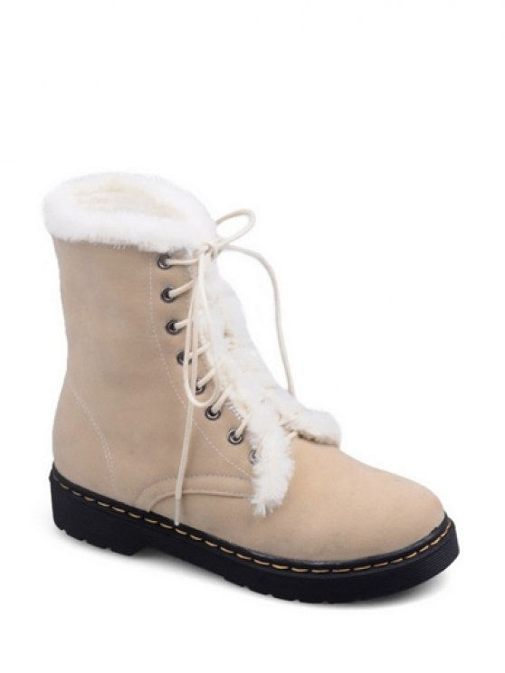 Faux Fur Stitching Tie Up Short Boots - APRICOT 37 Mobile