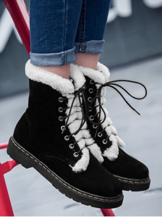 Faux Fur Stitching Tie Up Short Boots - BLACK 39 Mobile