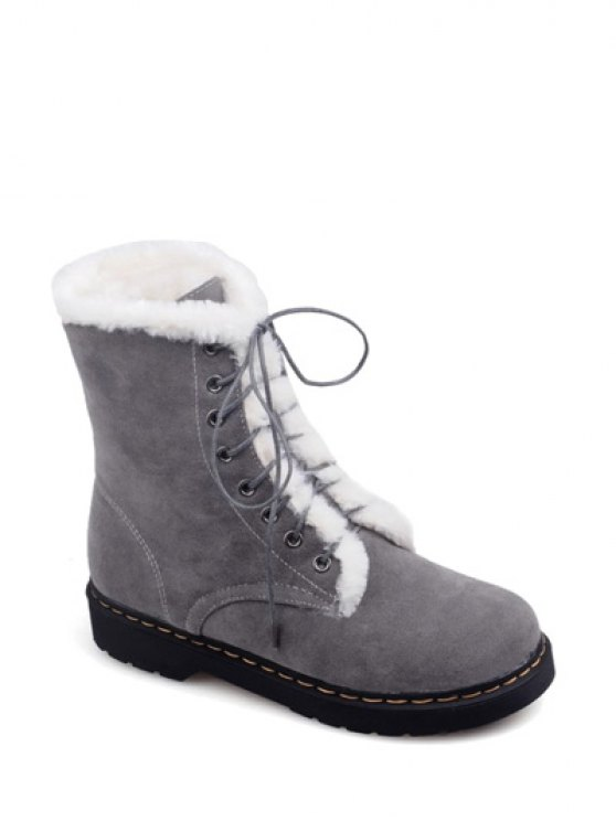 Faux Fur Stitching Tie Up Short Boots - GRAY 37 Mobile