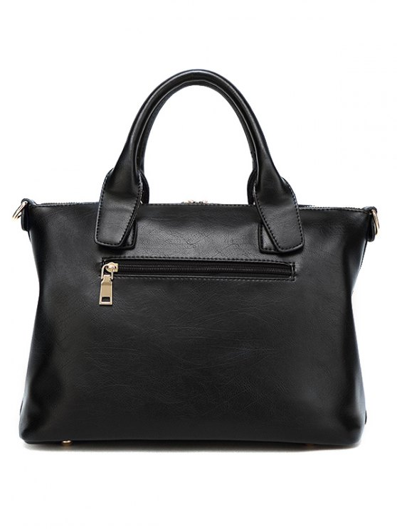 Metal Chains PU Leather Handbag - BLACK  Mobile