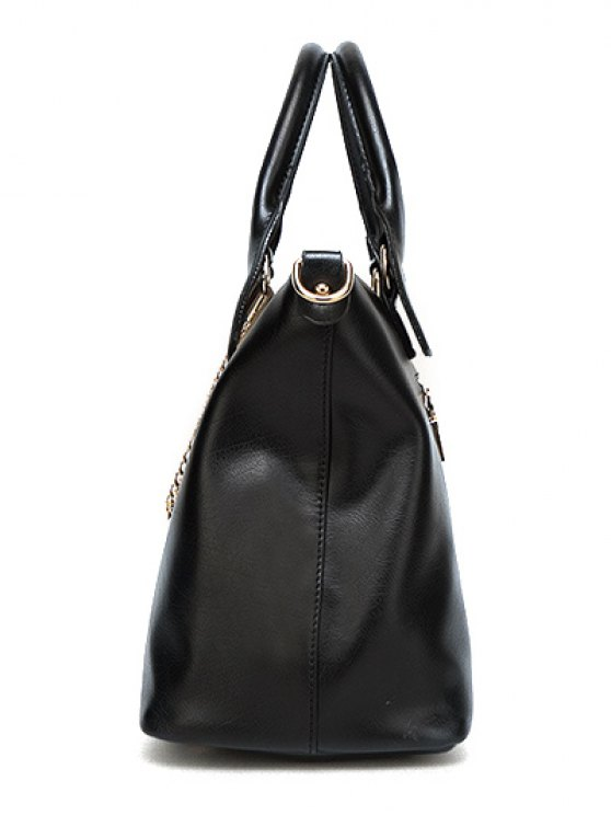 Metal Chains PU Leather Handbag -   Mobile