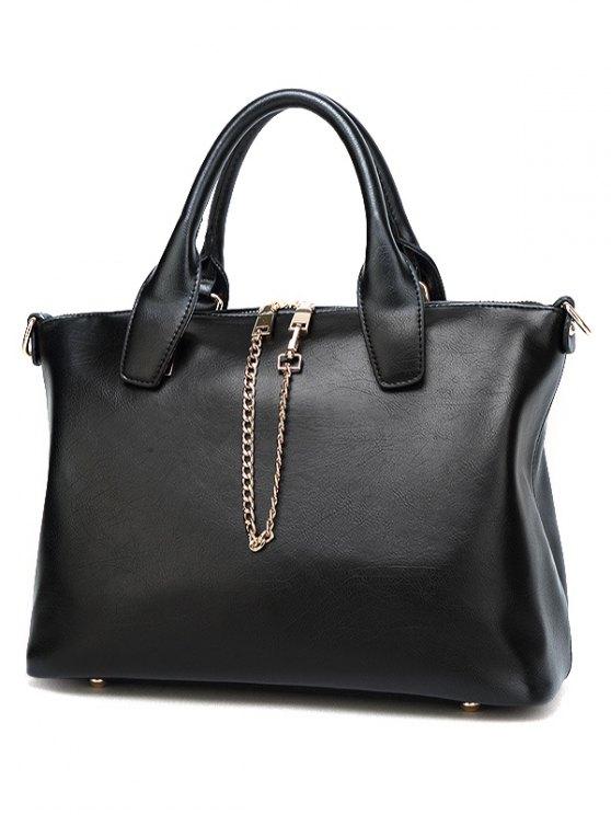 Metal Chains PU Leather Handbag - PURPLE  Mobile