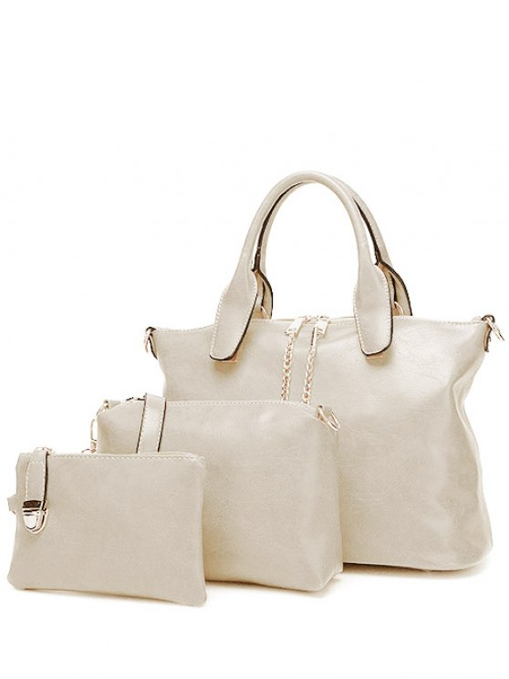 Metal Chains PU Leather Handbag - WHITE  Mobile
