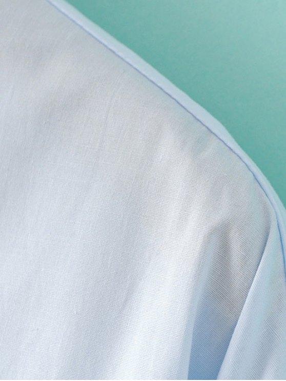 Loose Floral Shirt - LIGHT BLUE S Mobile