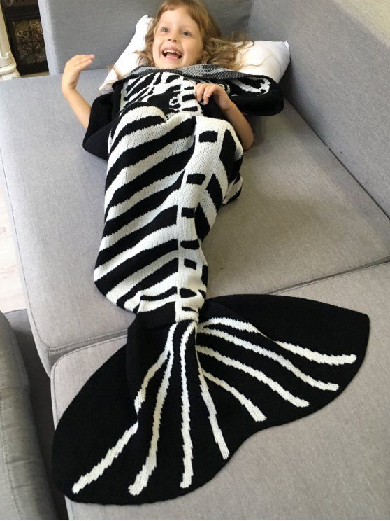 Kintted Fishbone Mermaid Blanket For Kids - WHITE AND BLACK  Mobile