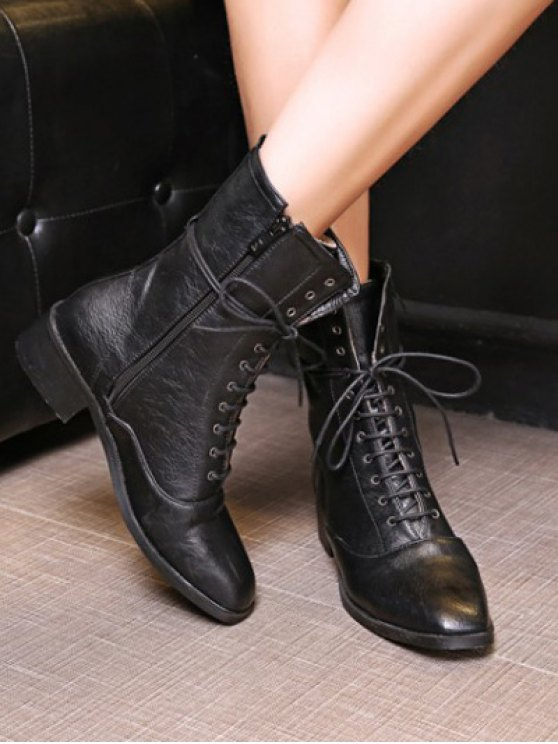 Chunky Heel Zipper Square Toe Short Boots - BLACK 38 Mobile