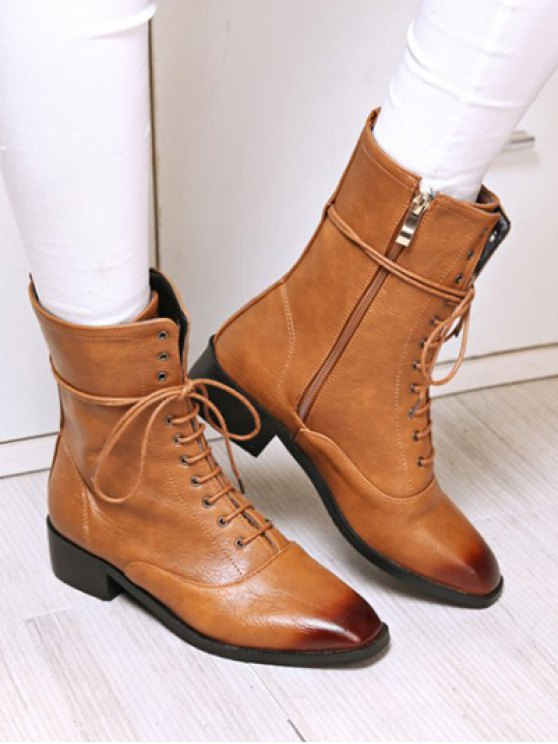 Chunky Heel Zipper Square Toe Short Boots - BROWN 37 Mobile