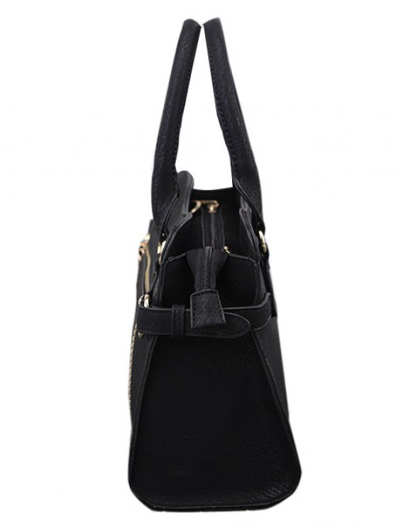 Stitching Zip Textured PU Leather Tote -   Mobile
