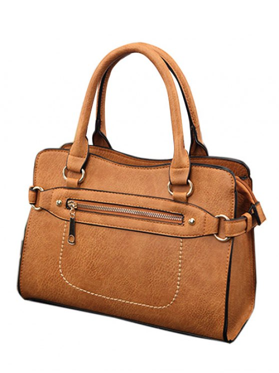 Stitching Zip Textured PU Leather Tote - BROWN  Mobile