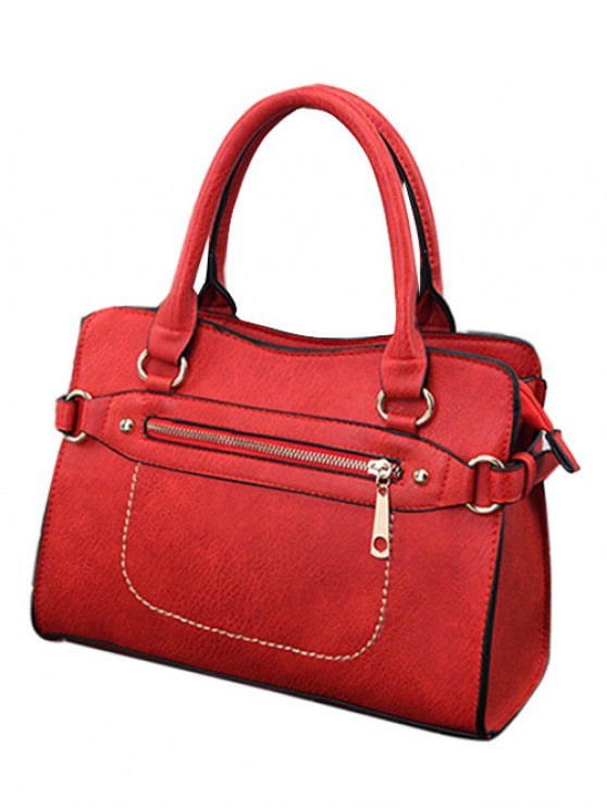 Stitching Zip Textured PU Leather Tote - RED  Mobile