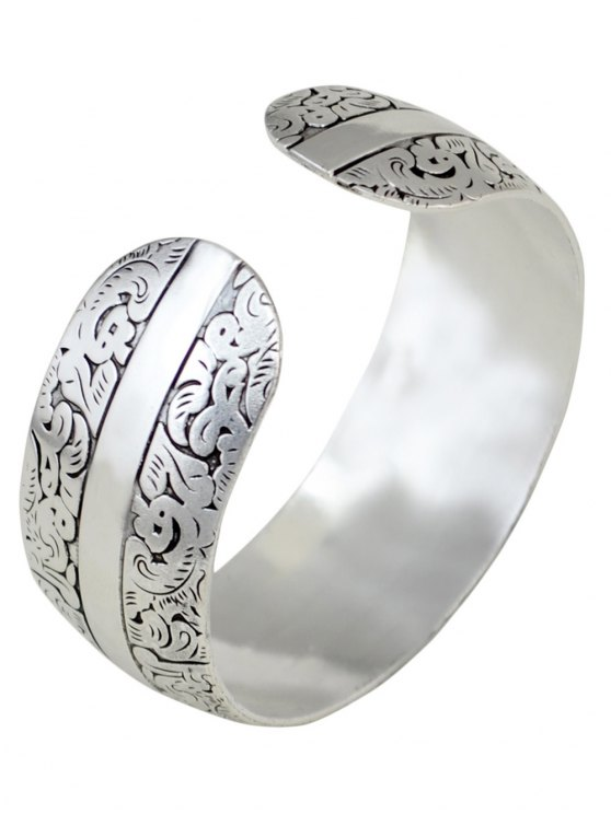 Elephant Etching Stainless Cuff Bracelet - SILVER  Mobile